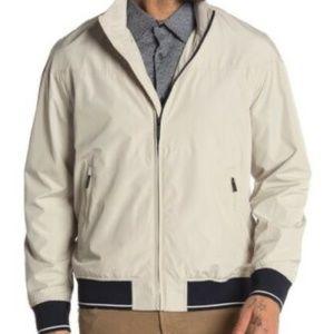 Perry Ellis Stripe Banded Zip Rain Jacket NEW XL